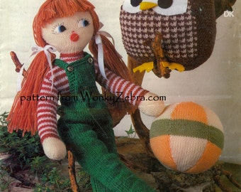 Vintage  Toy Owl and Doll Knitting Pattern PDF 522 from ToyPatternLand and WonkyZebra
