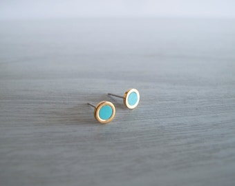 Tiny 6mm Turquoise Gold Round Stud Earrings - Hypallergenic Surgical Steel Posts
