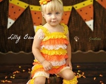 Candy Corn Romper-Halloween Romper-Lace Petti Romper-Baby Girl Clothes-Halloween Costume-fall Outfit-Dress Up-Halloween Outfit-Newborn Girl