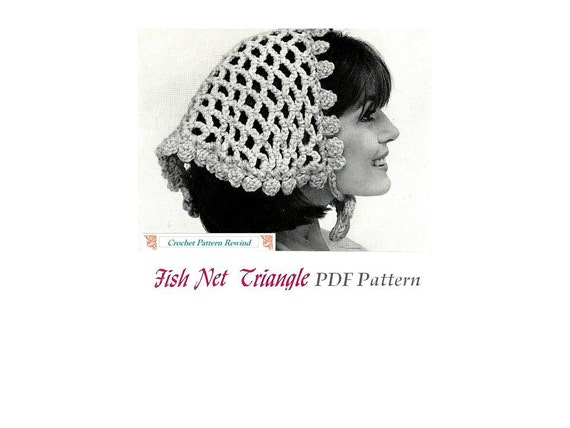 Crochet Pattern Triangle Head Scarf 1970 Vintage INSTANT