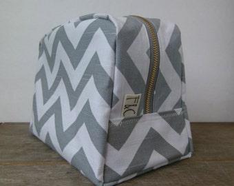 grey chevron toiletry bag bridesmaid gift chevron travel bag gray chevron zipper bag