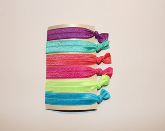 Set of 6 Neon Colored Elastic Hair Ties / Free Shipping on all U.S. Orders!