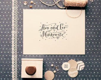 Dots Wedding Name Stamp - Custom Wedding Favor Stamp - Whimsical Favor Rubber Stamp