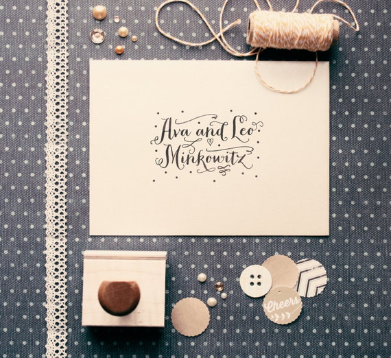 "Dots Wedding Name Stamp - 2.5"" x 1.5"" - Ava"
