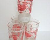 Set of 4 Vintage Glasses, jelly glasses, shabby chic kitchenware, pink glasses