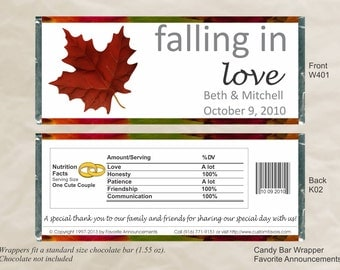 Fall Wedding Wrappers, Fall Party Favors, Fall Favors, Wedding Candy Bar, Chocolate Favors, Chocolate Wrappers (Set of 12) (W401)
