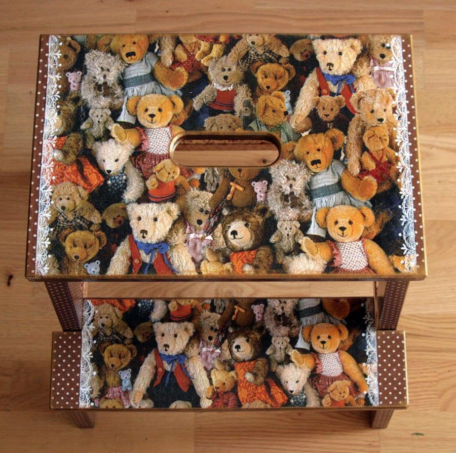 Wooden dollhouse step foot stool wood footstool stepstool furniture -  Zoom