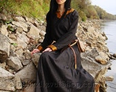 Early Medieval  dress made of wool with silk hems.  Made to order, Viking costume, reconstruction.