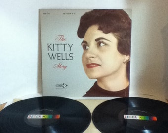 The Kitty Wells Story 2 Record Set Vintage Vinyl Record Album LP 1963 Decca Records Deluxe 2 Pocket LP DXSB 7174