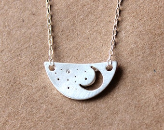 Handmade Sterling Silver Moon and Stars Necklace -  Silver Fine Jewelry - Silver Moon Jewelry