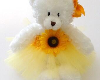 Sunflower Princess Tutu Teddy Bear, girls gift, flower girl gift, Wedding Keepsake