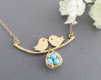 Family Bird Lariat Necklace, Nest Necklace, Mom and Baby Bird, Holiday Gift, Christmas Gift, Necklace for Mom, Necklace for Her