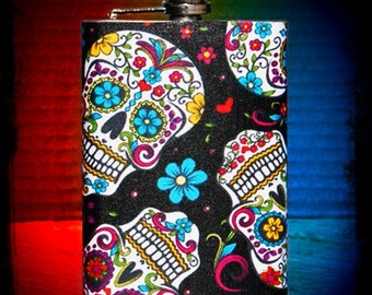 Sugar Skulls // Stainless Steel Flask// 8 oz. Flask // 6oz flask //Hip Flask // Birthday Gift