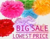 0.5 each - 89pcs Mix Color & Size Tissue Paper Pom Poms / Wedding Decoration / Wedding Pom Poms / Party Decoration - Clearance Sale