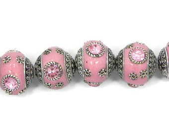 Indonesia Beads, 6 pieces Handmade pink Clay with Silver Embellishments, 20 mm Indonesian clay beads