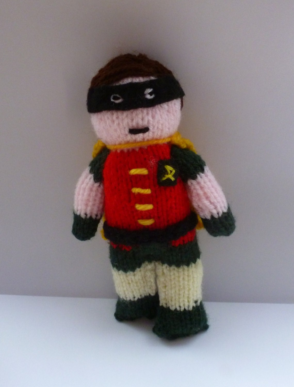 Robin knitted doll Batman and Robin