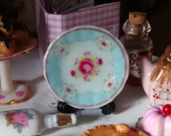 Dolls House miniature Shabby Chic blue with roses Ceramic Plate