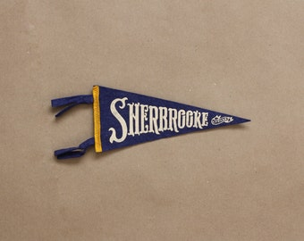 Vintage Felt Pennant Flag-Sherbrooke, Canada-Retro Collectible Home Decor