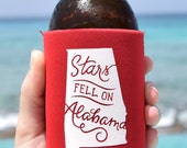 Stars Fell on Alabama Can Cooler Beer Cozy in Red