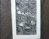 Mushroom Forest Linocut Print