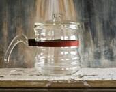 Vintage Glass Teapot, Flameware Stove Top Teapot or Coffee Percolator, Retro Entertaining Serving