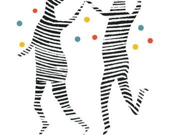 giclee print- color your world - zebra  Illustration -  zebra art - colorful art print - kids wall decor - dancing zebras -  party print
