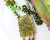 BACK2SCHOOL SUPER SALE!   Brass Celtic Pendant with green and gold lampwork beads, Czech glass beads, brass chain