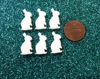 6x laser cut acrylic rabbit/ bunny cabochons