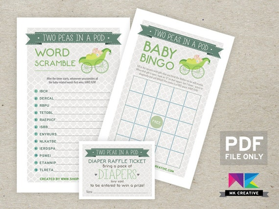 twins two peas in a pod 3 games baby shower by shopmkcreative