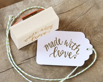 Made with Love Rubber Stamp on Wood Mount, With or WIthout Personalized Name, Heart Handwritten Calligraphy Script
