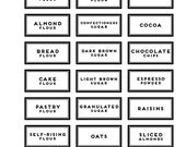 42 BAKING PANTRY LABELS clear rectangle round modern black vinyl