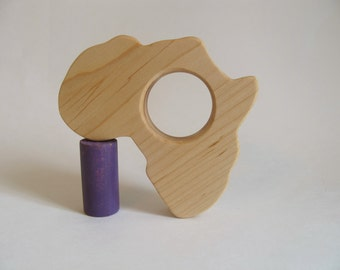Wood Toy -  Africa Teether - organic, safe and natural for baby
