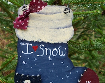 Christmas Stocking Ornament; Painted Wooden Stocking