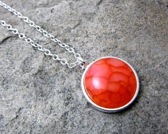 Orange Agate Necklace, Orange Necklace, Orange Pendant Necklace, Agate Pendant Necklace, Agate Jewelry, Gemstone Necklace