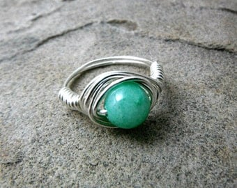 Light Green Jade Ring, Wire Wrapped Ring, Jade Stone Ring, Wire Wrapped Jewelry Handmade, Green Ring, Green Stone Ring