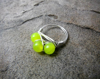 Yellow Jade Ring, Wire Wrapped Ring, Cluster Ring, Neon Jade Ring, Yellow Stone Ring, Wire Wrapped Ring, Wire Wrapped Jewelry Handmade