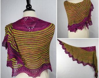 Purple Allium Shawl or 2 Shawlettes Yarn Kit with Beads - Stunning Superwash Fingering Weight