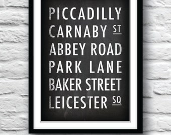 London print, London street sign, London poster, Wall Decor, Housewares, Customisable place names