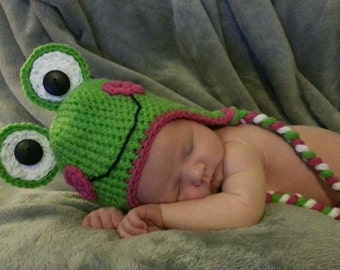 Crochet Frog Hat with Ear Flaps and Braided Tails