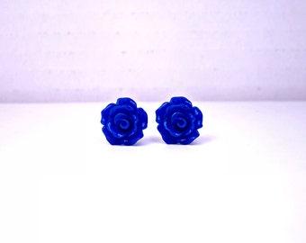 Dark Blue Rose Earrings; Handmade Stud Earrings; Rosette Earrings; Rose Jewelry; Blue Flower Earrings; Rose Stud Earrings; Royal Blue Studs