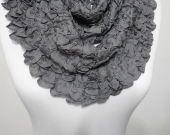 Gray Infinity Scarf Crinkle Loop Scarf Fashion Women Circle Scarf Women Fashion Accessory Christmas Gift Ideas For Her MiracleShine