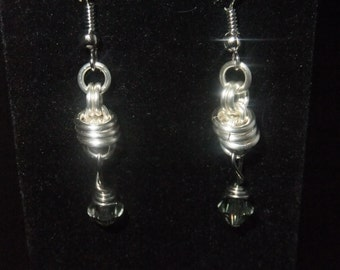 Silver Coil Drop Earrings with Crystal