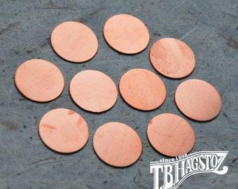 24 gauge x 1 inch Copper Disc 50 pieces