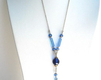 Boho romantic long necklace, bright blue and light blue, hand-made by kalani