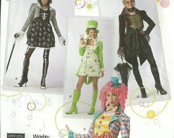 Misses Clown, Steampunk, Goth, St Patricks Costume with Hat, Simplicity 2525, Sizes 14, 16,18, 20 Uncut