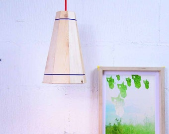 Wooden Pendant Light Ceiling Lamp shade Medium Natural