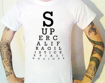 supercalifragilisticexpialidocious Eye Chart T-Shirt Mary Poppins Optician Test Eye Chart T-Shirt Mary Poppins Optician Test