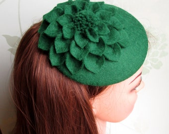 SALE Green Hat - Green Fascinator, Green Cocktail Hat, Felt Fascinator, Wedding Hat, Formal Hat