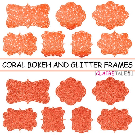"""Digital clipart labels: """"CORAL BOKEH & GLITTER frames"""" bokeh and glitter clipart frames, labels, tags on coral background"""