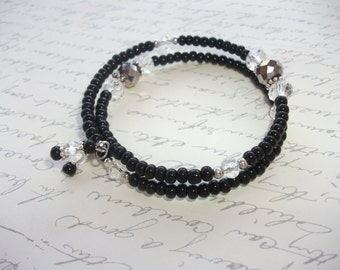 Black and grey memory wire bracelet with crystals